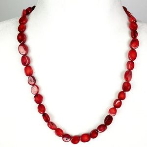 Macy's Red Coral Necklace Sterling Silver